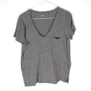Madewell whisper cotton v-neck pocket tee gray